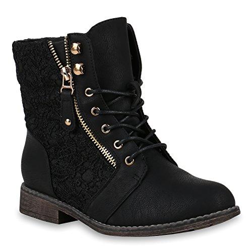 Damen Stiefeletten Worker Boots Spitze Stiefel Schuhe 147516 Schwarz Zipper 40 Flandell