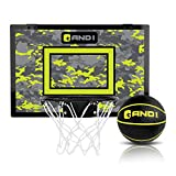 """AND1 Over The Door Mini Hoop: - 18""""x12"""" Easy to Install Portable Basketball Hoop with Steel Rim, Includes 5"""" Mini Basketball, Indoor Game Set for Children and Adults- Black & Volt"""