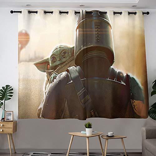 MRFSY Cortinas opacas para sala de estar, diseño mandaloriano de Star Wars Baby Yoda con aislamiento térmico y eficiencia energética, cortinas de ventana para sala de estar de 153 x 182 cm
