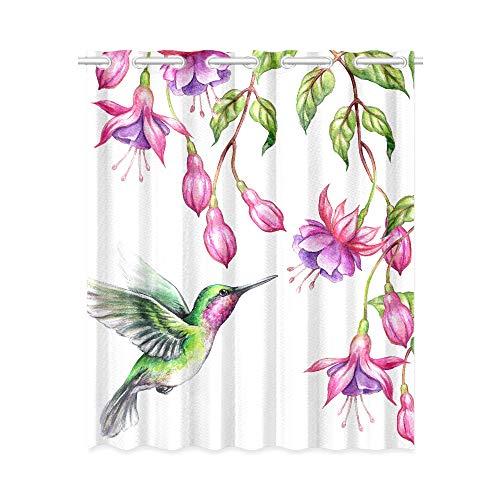 Verdunkelungsvorhänge Schlafzimmer Exotische Natur Flying Hummingbird Tropical Fuchs Print Vorhänge für Wohnzimmer 52x63 Zoll (132x160cm) 1 Panel Verdunkelungsvorhang Vorhang für Schlafzimmer Wohnzim