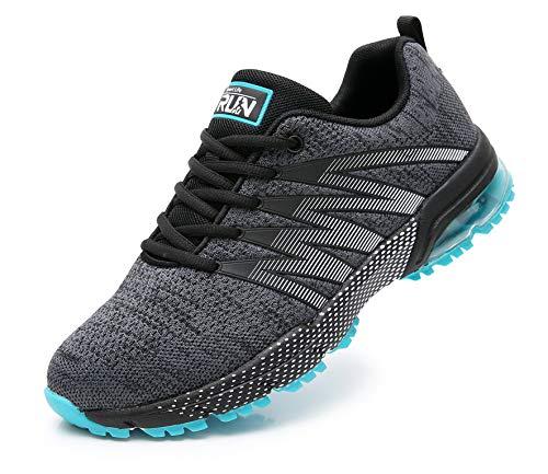 Azooken Herren Damen Sportschuhe Laufschuhe Turnschuhe Sneakers Leichte Fitness Mesh Air Sneaker Straßenlaufschuhe Outdoor(8995 GreyBL46)