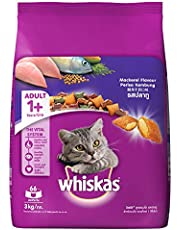 Whiskas Adult (+1 year) Dry Cat Food, Mackerel Flavour, 3kg Pack