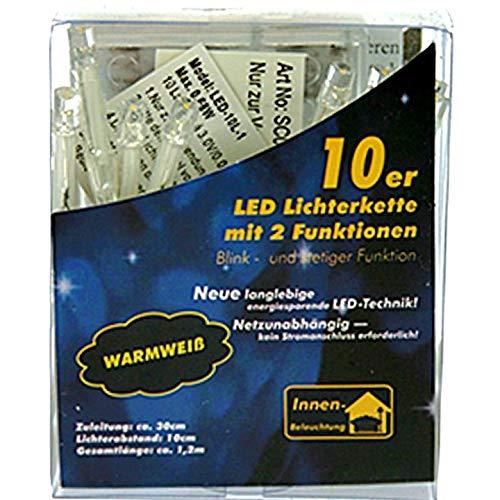 COOLMP - Lot de 12 - Guirlande à Piles 10 LEDs Blanches 1m20