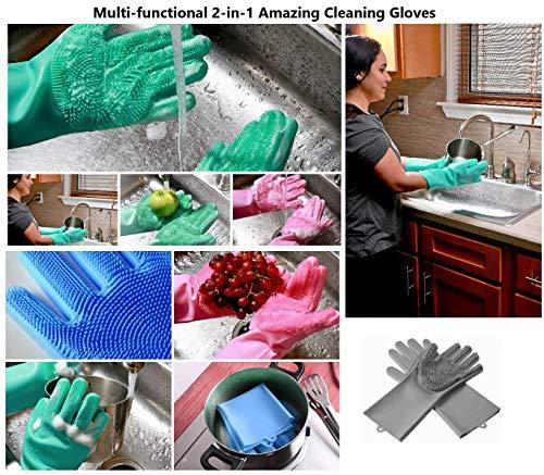 Product Image 3: MITALOO Magic Dishwashing Cleaning Sponge Gloves Reusable Silicone Brush Scrubber Gloves Heat Resistant for Dishwashing Kitchen Bathroom Cleaning Pet Hair Care Car Washing(Green)