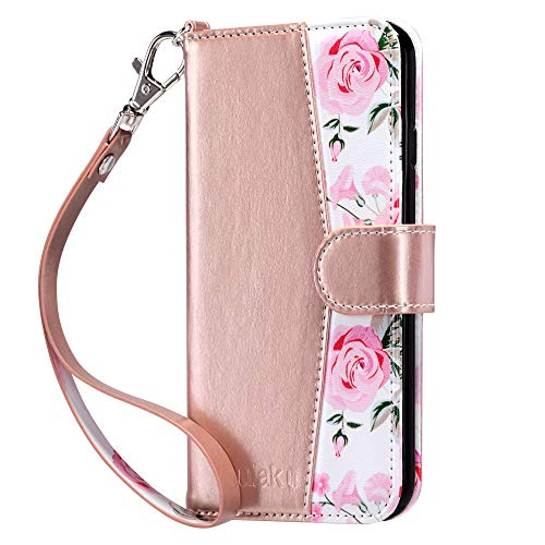 ULAK iPhone 6s Wallet Case, iPhone 6 Wallet, Flip PU Leather iPhone 6S Wallet Case with Card Holder Kickstand Designed Wrist Strap Shockproof Protective Cover for iPhone 6/6s 4.7inch, Rose Gold