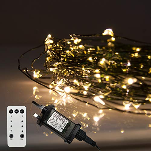 LED Christmas Lights, 200 Warm White Fairy Lights on Thin Green Wire. Micro Wire Lights by Qbis UK (200 Warm White LEDs on Green Wire)
