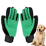 ETHEL Manopla Masaje para Mascotas, Mascota Guante de Aseo, Guantes de Masaje para Perros/Gatos, para Perros y Gatos con Pulseras de Velcro Ajustables para un Mejor Ajuste (Verde)