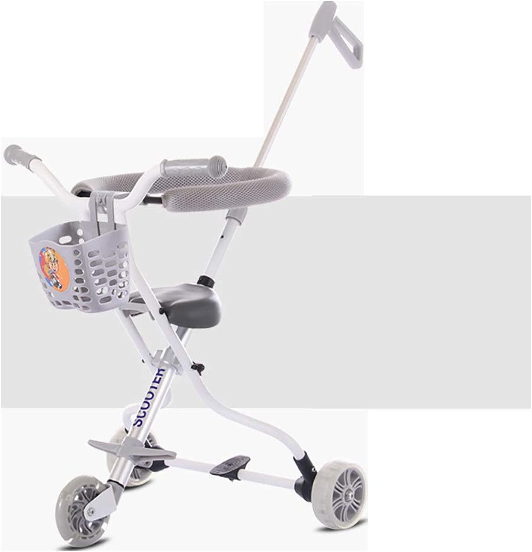 ZHYY autorello a Tre Ruote per Bambini Leggero Semplice Pieghevole Push-He Triciclo per Bambini Esterno Portatile PIC-nic passeggini Regolabile per Ragazzi e Ragazze 1-6 Anni