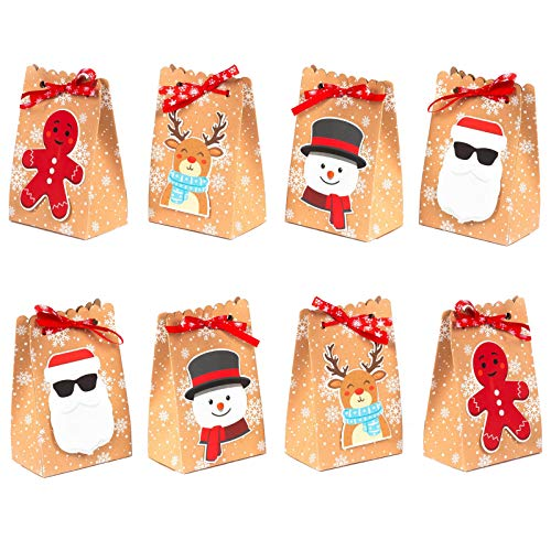 NIMU 12 Pack Christmas Bag Reusable Craft Paper Boxes for Gift and Presents Candies Cookies Bundle Xmas Theme Gift Wrapping Bags Great Holiday Bulk Prime