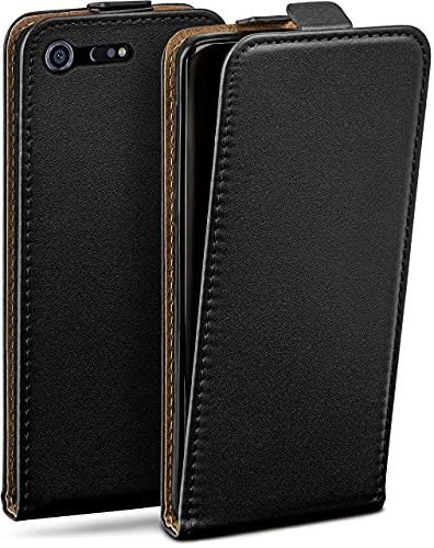 moex Flip Hülle für Sony Xperia XZ Premium Hülle klappbar, 360 Grad R&um Komplett-Schutz, Klapphülle aus Vegan Leder, Handytasche mit vertikaler Klappe, magnetisch - Schwarz