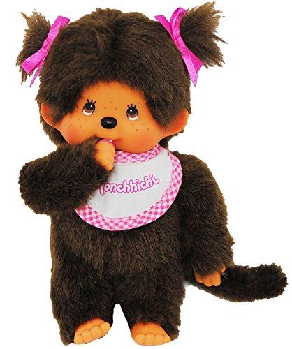 alles-meine.de GmbH Mädchen - Monchhichi -  Lätzchen - ROSA / pink - 2 Zöpfe im Haar  - 20 cm - Bekleidung ausziehbar - Plüschtier / Kuscheltier - Monchichi - Sportlich - groß ..