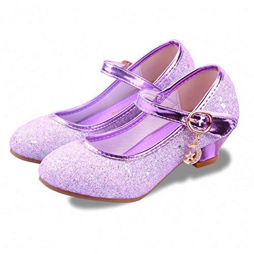 Kids Girls Flats Sparkle Party Mary Jane Princess Dress Shoes (12 M US Little Kid, Purple)