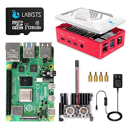 LABISTS Raspberry Pi 4 8GB (Technical Compliance Marked), MicroSDHC Card 128G/Raspbian System Preinstalled, Card Reader, 5.1V/3A Type-C Power Supply with Switch, Micro HDMI to HDMI Cable Line, Three Heat Sinks, Easy Installation Case, Japanese Instruction Manual (English Language Not Guaranteed)