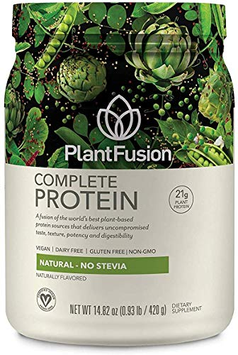 PlantFusion Complete Plant Based Pea Protein Powder | Dietary Supplement |Non-GMO, Vegan, Dairy Free, Gluten Free, Soy Free | Allergy Free w/Digestive Enzymes, Natural - No Stevia, 1 Pound