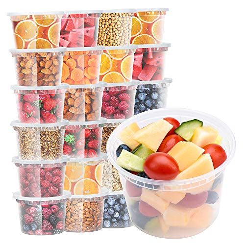 Glotoch 24 Pack 16 oz. (2 Cups) Plastic Food and Drink Storage Containers Set with Lids - Microwave, Freezer & Dishwasher Safe Eco-Friendly, BPA-Free, Reusable & Stackable
