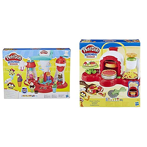 Play-Doh Kitchen Creations Ultimate Swirl Ice Cream Maker Play Food Set with 8 Non-Toxic Colours - Exclusive to Amazon & Stamp 'n Top Pizza Oven Toy with 5 Non-Toxic multiColours