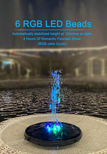 Solar Fountain Pump,Solar Water Fountain with LED Lights 2000 mAh Battery,Solar Fountains for Bird Bath 6V 3.5W Upgraded 8 Nozzle, for Fish Tank,Pond, Garden Decoration