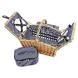 Picknickkorb fr 4 Personen aus Weide - 26tlg. mit passender Decke, Keramik Geschirr und Khlfach - Picknickkoffer Set Blau Wei gestreift