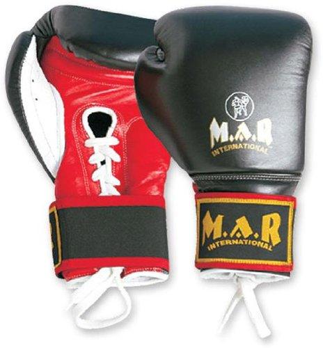 M.A.R International Ltd echtes Rindsleder Leder Schnürung mit Klettverschluss Boxhandschuhe Kickboxen Thai Boxing MMA Muay Thai 283,5 g schwarz
