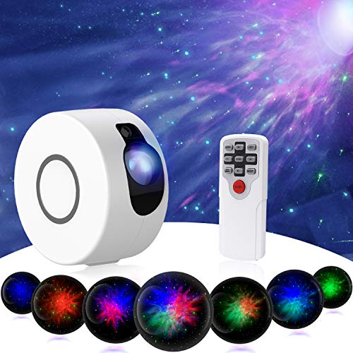 Star Night Light Projector, Upgrade 15 Lighting Modes 7 Lighting Effects Sky Galaxy Projector LED Nebula Cloud Light with Remote Control for Party Home Theater, Children Kids Baby Adult Bedroom-White