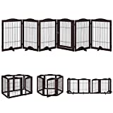 beeNbarks Pet Playpen with Wire, Extra Wide 6 Panels Freestanding Wooden Dog Gate with Walk Through Door and 5 Support Feet, Foldable Expandable Pet Exercise Pen Stairs Barrier, Espresso