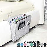 LiB Bedside Caddy, Original Design | Large Size 9.4' x 13.4' inch (Gray) Laptop Holder | 100% HANDMADE | College Room, Bunk Bed, Hospital Bed, Kids | Night Hanging Storage Organizer | Remote Holder