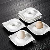 MALACASA, Series Elvira, 6-Piece 4' Egg Cups Holder Ivory White Porcelain China Ceramic Cream White Egg Stand Plates (10.5 * 10.5 * 2.5cm)