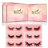 BEEOS False Eyelashes 3D Real Mink Lashes, 6 Different Styles Multipack, 100% Siberian Mink Handmade Full Strip Lashes Fluffy Natural Look Makeup Eye Lashes 6 Pairs/Princess