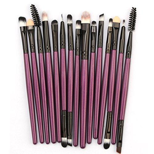 Professional 15 pièces Maquillage Set de brosse Maquillage Kit de Set de Brosse de Maquillage Marque de Laine (violet)