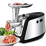 MeyKey Electric Meat Grinder, Meat Mincer with 3 Grinding Plates and Sausage Stuffing Tubes for Home Use &Commercial, Stainless Steel/Silver/1000W