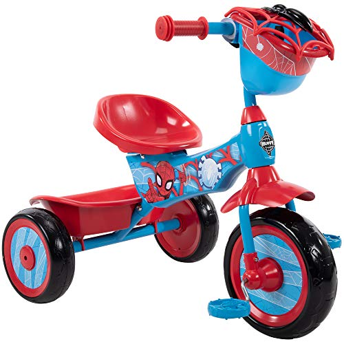 Huffy Marvel Spider-Man 3 Wheel Preschool Training Tricycle with Steel Frame, Storage Basket, Plastic Pedals, and Handlebar Grips for Toddlers, Red