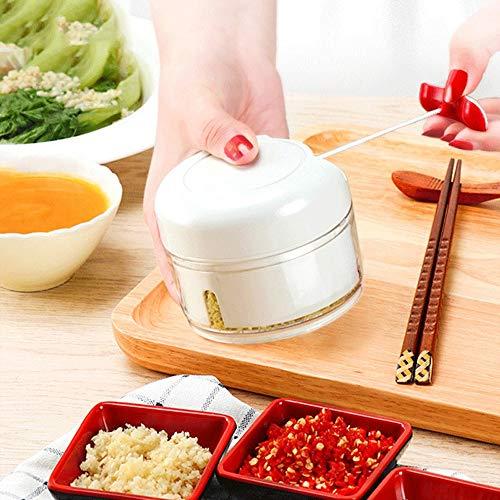 EQTNTMAQ Handmatige Food Chopper Plantaardige Chopper 2 Blades Handmatige Voedsel Processor Ui Chopper Knoflook Chopper Blender Vlees Mincer Fruit Ui Knoflook en Kruid Slicer voor Salade Pesto