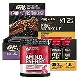 Optimum Nutrition Amino Energy con Beta Alanina Frutta Mista 270g 30 Porzioni + Pre-Workout Shot con Caffeina Frutti di Bosco 12x60ml + Fruit&Nut Barretta Proteica Cioccolato al Latte 10x70g