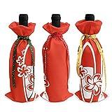花パドルサーフィンボード クリスマスワインボトルカバー 3個ーテーマのボトル装飾 ワインボトル用のかわいいドレス 3種類のデザイン