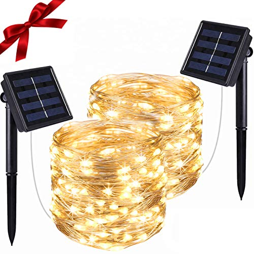 SUDDUS 100 LED Solar Fairy Lights Waterproof, Copper Wire String Lights Outdoor 2 Packs, Solar led String Lights 8 Modes Suitable for Indoor/Outdoor, Party, Garden, Fireplace, Courtyard (Warm White)…