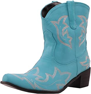 DecoStain Women's Classic Embroidered Western Boots Ladies Retro Cowboy Ankle Boots