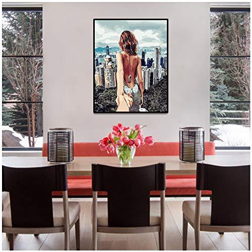 Zxdbh Abstract aquarel portret muurkunst posters en afdrukken Home Decoration olieverfschilderij Moderne kunst canvas schilderij Without Frame 60X80cm 23