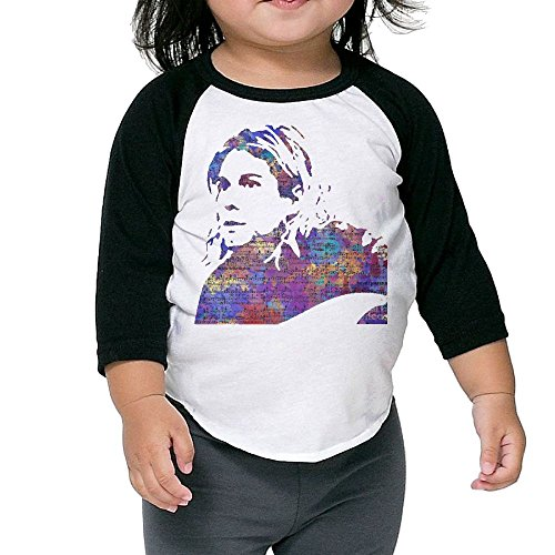 Matta Infant Kurt Cobain Raglan Baseball T-Shirt for Girls & Boys Black 2 Toddler