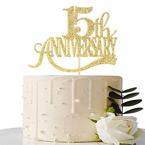 Gold Glitter 15th Anniversary Cake Topper - for 15th Wedding Anniversary / 15th Anniversary Party / 15th Birthday Party Decorations