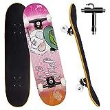 Skateboard per Principiante, 80x20 cm Skateboard Completo in Legno per Bambino Adolescenti Adulto, 7 Strati di Acero Doppio Kick Deck Concavo Trick Cruiser con lo strumento T Tutto in Uno (Rosa)