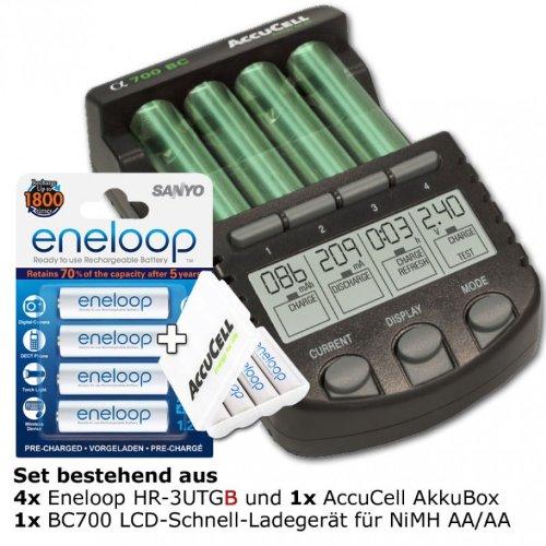 Technoline BC 700 Akku-Ladegerät schwarz mit 4x eneloop HR-3UTG und AccuCell AkkuBox