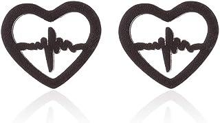 RUIZHEN Open Love Heart Shape Heartbeat EKG Stud Earrings Gift for Nurse (Black)