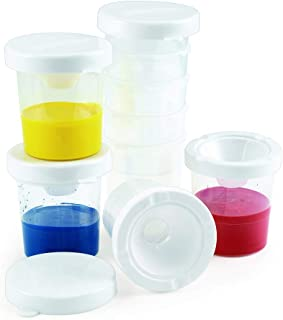 Colorations No-Spill White Lid Paint Cups for Kids Value Classroom Pack Painting Supply (10 Pack)
