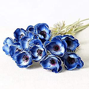 Artificial and Dried Flower 5pc Silk Flower Artificiales for Wedding Holding BouqueReal Touch Artificial Anemone Flowers Fake Flowers Home Decorative Wreath