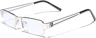 Non-Prescription Rimless Frame Clear Lens Rectangular Fashion Eye Glasses for Women Men (Small Face)