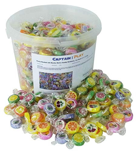 Party Bucket mit Rocks Retro Candy Bonbons in Einzelverpackung, 1er Pack (1 x 1,5 kg)