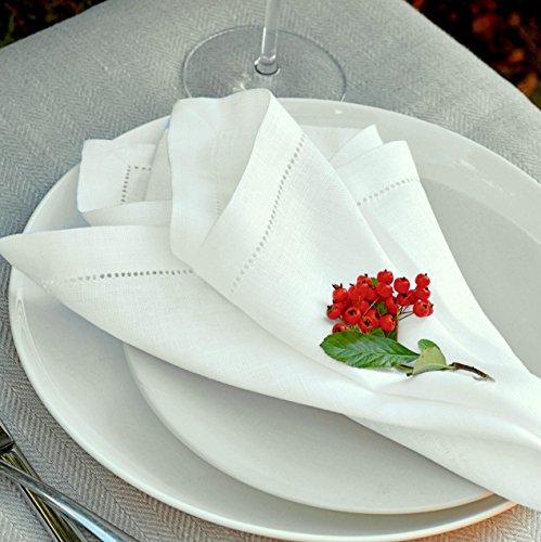 Linen & Cotton 4 x Elegante Festliche Stoffservietten Florence -100% Leinen, Weiß Weiss (43 x 43cm) Servietten Stoff Napkins Leinenservietten für Hochzeit Gastronomie Home Küche Dekoration Restaurant