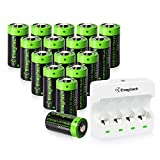 Enegitech CR123A Battery Charger for Rechargeable CR123A Lithium Battery with 16 Pack Battery for Home Security Battery Charger 4 Bay Fast Charger with LED Indicator