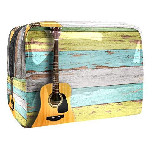 TIZORAX A Guitare sur planche en bois Sacs cosmétiques PVC Maquillage Trousse de toilette de voyage Organisateur pour femme