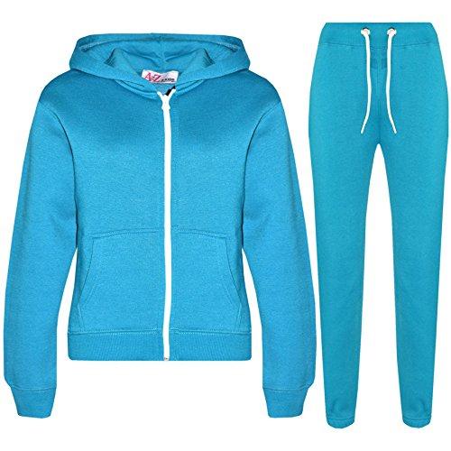A2Z 4 Kids® Kinder Mädchen Jungen einfarbig Trainingsanzug Kapuzenpullover - T.S Plain Turquoise 3-4